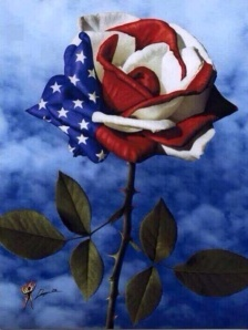 Patriotic Red, White & Blue Rose